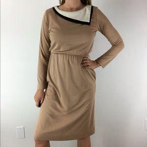 VINTAGE 70's Retro Sears Beige Secretary Dress S/M